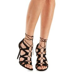 cb164decdf0 Lace-Up Caged Sandals Black Stilettos