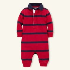 Striped Rugby Coverall - Layette One-Pieces - RalphLauren.com