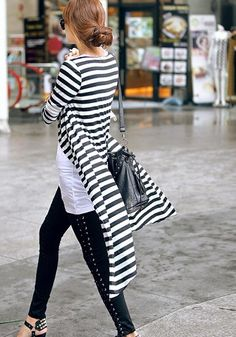 Collar Maxi Cardigan - Stripe