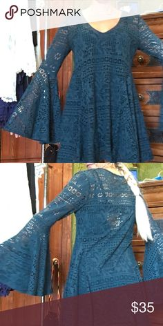 "Dark teal Free People Beach dress Beautiful! Hits just above the knee on me, I am 5'2"". SiE medium. Cotton lace overlay, over like colored slip. Huge bell sleeves! Free People Dresses Mini"