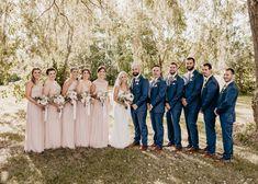 Navy Blush Weddings, Dusty Pink Bridesmaid Dresses, Wedding Bridesmaids, Dress Wedding, Lace Wedding, Wedding Pics, Wedding Decor, Navy Bridal Parties, Bridal Party Poses