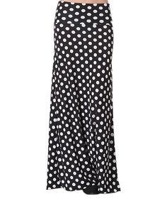 BOLD & BEAUTIFUL Black & White Polka Dot Maxi Skirt - Plus | zulily