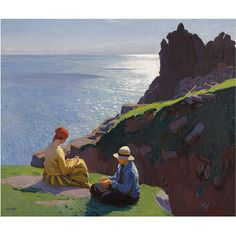 Laura Knight (English Impressionist painter known for painting the world of London's theatre, ballet and circus) 1877 - 1970 On the Cliffs, 1917 oil on canvas English Artists, Pierre Auguste Renoir, Pre Raphaelite, Paul Gauguin, Impressionist Art, Paintings I Love, Art For Art Sake, Gustav Klimt, Dresden