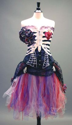 Day of the Dead Costume- Black Steelboned Corset, Tulle Skirt With Lace Skirt, and Accessories