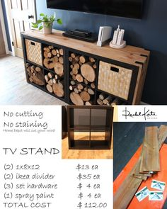 Terrific Images Rustic, TV stand and log wood storage Ideas There is nothing . - Terrific Images Rustic, TV stand and log wood storage Ideas There is nothing Better than a brill - Diy Furniture Tv Stand, Ikea Furniture Hacks, Furniture Makeover, Ikea Hacks, Hacks Diy, Log Furniture, Furniture Storage, Furniture Online, Cube Storage