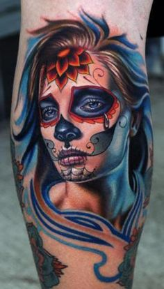 tatuaje tattoos tattoo ink tattooh tatus catrina santa muerte mexicana a color