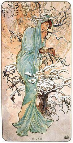 Kunst-Art: van Alfons M.MUCHA ~Seasons 1896-Winter~