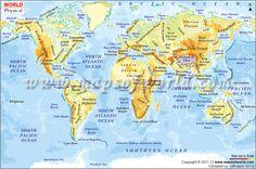 Large World Physical Map