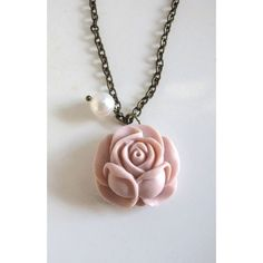 Dusty Pink Rose Necklace Romantic Flower Garden Nature White Swarovski... ❤ liked on Polyvore featuring jewelry, necklaces, dangle necklace, bridal jewelry, white pearl necklace, rose flower jewelry and rose necklace