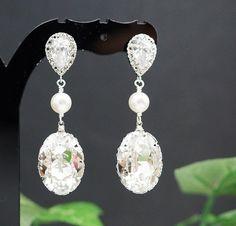 Wedding Bridal Jewelry Bridal Earrings Bridesmaid Earrings Cubic Zirconia Earrings With Clear White on Luulla