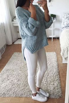 simple white skinnies and cozy knit sweater winter style for every girl