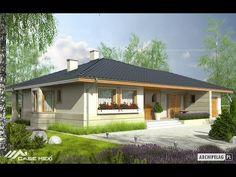 Eris II (wersja C) - projekt domu - Archipelag Modern Minimalist House, Adobe House, Bungalow House Plans, House Elevation, Design Case, Beautiful Homes, Gazebo, Shed, Sweet Home
