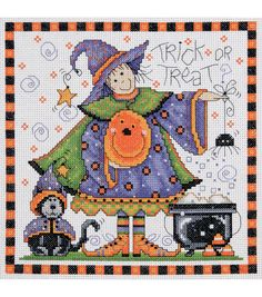 """Trick Or Treat Counted Cross Stitch Kit-8""""X8"""" 14 Count, , hi-res"""