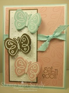 Stampin Up, Butterfly punch in 3 colors; Flower Fest stamp set