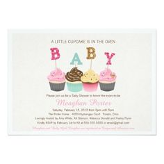Glitter Baby Shower Invitation - Cupcakes, Glitz