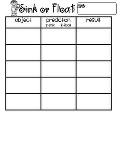 """Sink or Float Experiment Worksheet- we changed the words to """"Object, Hypothesis, and Observation"""" Science Lesson Plans, Science Worksheets, Science Lessons, Science Ideas, Geography Lessons, Science Resources, Science Projects, Preschool Ideas, Weather Kindergarten"""