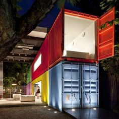 world architects Category winner at the recent WAF in Barcelona, studio mk27 presented this project where the ever-ephemeral shipyard containers are transformed into a store space that opens up to the city of São Paulo.