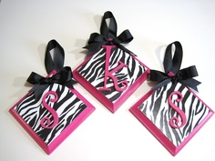 Wall Plaques Hot Pink and Zebra with Letter by DREAMATHEME on Etsy, $6.00