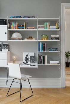 Home office with the String Shelf via The Design Chaser. Love the simplicity. Gray Bedroom Walls, Grey Walls, Bureau Design, Workspace Inspiration, Interior Inspiration, Tiny Living, Home And Living, Living Room, Home Office Design