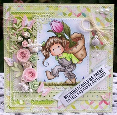 A Sprinkling of Glitter: Tilda With Big Tulip Pot - Simon Says Stamp DTC Card