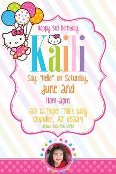 Hello Kitty Birthday Invitation by PaperTalesCustom on Etsy, $30.00