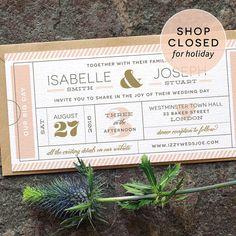 Modern Ticket Wedding Invitation / 'Typography by twoforjoypaper