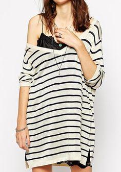 White Striped Long Sleeve Acrylic Sweater