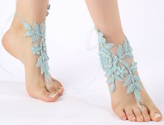 Free Ship blue lace Barefoot Sandals, french lace, Nude shoes,Beach wedding barefoot sandals, Bridesmaid barefoot sandals