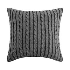 Woolrich Williamsport Plaid Square Throw Pillow - The Woolrich Williamsport Plaid Throw Pillow is a beautiful, warm acrylic knit, that gives the look and feel of your favorite cable knit sweater. Use in your living room or on your bed for a complete look. Euro Pillow Covers, Euro Shams, Accent Pillows, Throw Pillows, Couch Pillows, Knit Pillow, Pillow Talk, Sweater Pillow, Gray Sweater