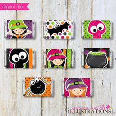 3 Little Witches Theme Printable Candy Bar por JWIllustrations