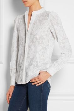 White cotton and silk-blend Partially concealed button fastenings through front cotton, silk Machine wash or dry clean White Button Down, White Cotton, Tunic Tops, Michael Kors, Silk, Chic, My Style, How To Wear, Women