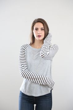 The Striped Sleeve Thermal Blouse