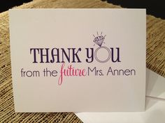 Cute idea for bridal shower thank-you notes