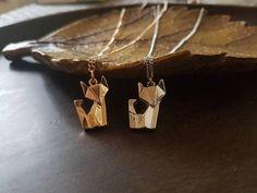 Origami fox origami necklace geometric necklace origami