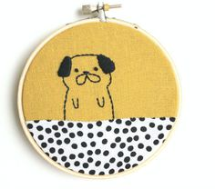 Pierre the pug – hand embroidered wall art Sycamore Street Press Embroidery Hoop Art, Cross Stitch Embroidery, Embroidery Patterns, Sewing Patterns, Pug Art, Felt Fabric, Embroidery Techniques, Pugs, Handmade