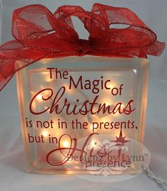 The Magic of Christmas Decorative Glass Block by DesignzbyLy… - Weihnachts ideen Christmas Glass Blocks, Christmas Projects, Holiday Crafts, Decorative Glass Blocks, Lighted Glass Blocks, All Things Christmas, Christmas Fun, Christmas Decorations, Christmas Signs