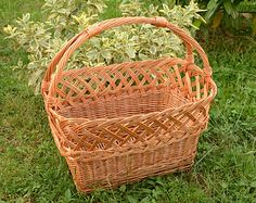 Handwoven Wicker Basket, Handmade Willow Basket, Handmade Woven Country Basket, Country Kitchen Basket, Market Basket