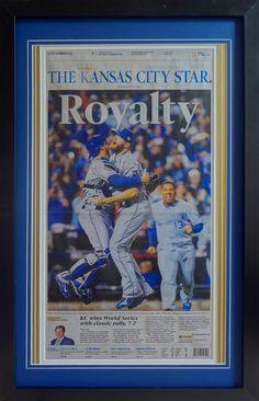 Kansas City Royals. 2015 World Series Champions. Framed newspaper.