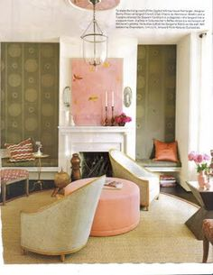 Color scheme thoughts, salmon, natural fiber rugs, olive green