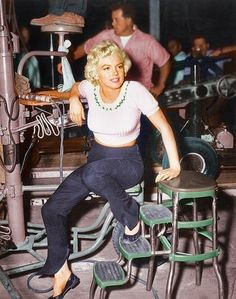 Marilyn Monroe on set.