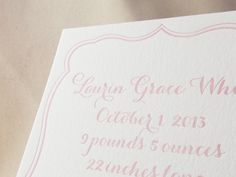 Letterpress birth announcements
