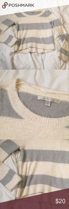 LC Lauren Conrad Cream/Gray Fuzzy Striped Sweater LC Lauren Conrad Cream/Gray Fuzzy Striped Sweater size XS - excellent condition!  ---- 🚭 All items are from a non-smoking home. 👆🏻Item is as described, feel free to ask questions. 📦 I am a fast shipper with excellent ratings. 👗I love bundles & bundle discounts. Feel free to make an offer! 😍 Like this item? Check out the rest of my closet! 💖 Thanks for looking! LC Lauren Conrad Sweaters