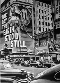 New York movie marquis ☆The Day the Earth Stood Still (Robert Wise, playing in New York's Times Square Old Pictures, Old Photos, Vintage Photos, Norman Rockwell, American Psycho, Vintage Photography, Street Photography, Photo New York, Alberto Moravia