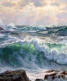 saturday - whatever it takes - Sea Pictures, Nature Pictures, Ocean Art, Ocean Waves, Seascape Paintings, Landscape Paintings, Ocean Wallpaper, Ocean Scenes, Belle Photo