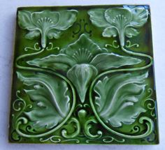 Bold outstanding Art Nouveau design from Henry Richards,tile reference 242,c1901 in the book Art Nouveau Tiles with Style.