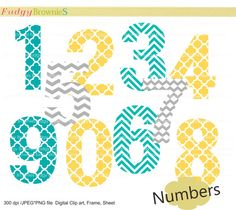 Digital clip art  set , numbers , number 1 to 10 , for invites, cards, scrapbooking , polka dots , INSTANT DOWNLOAD