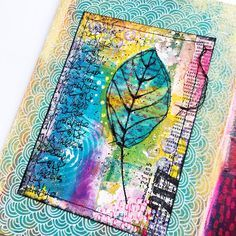 Today in my art journal. Found the card between my stash of gelli printed papers. Stitched the leaf on (cut from a dried baby wipe) then glued it on a painted page in my journal. Added some doodling and done!