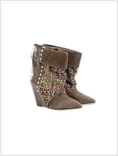 Have to have it NOW! Kate Suede Print Corduroy and Leather Wedge Ankle Boots.