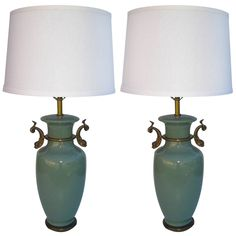 Pair of Undine Celadon Lamps | 1stdibs.com