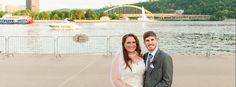 Pittsburgh Post Bridal Session - Wedding Couple Bride & Groom with Bridge, Fountain, and boats in Background Pittsburgh North Shore, 3 Rivers  © Penny Shaut Photography 2015 www.pennyshaut.com facebook.com/pennyshautphoto